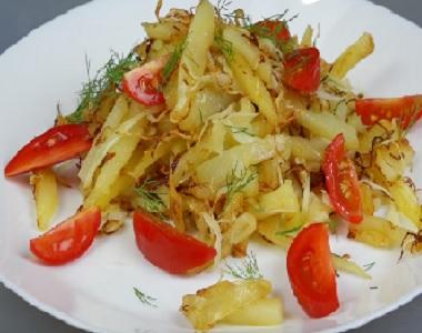 Жареный картофель с капустой